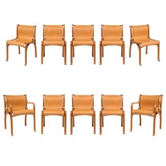 Ten Saddle Stitched Leather Dining Chairs