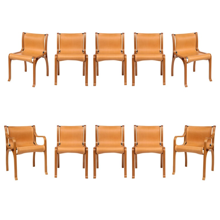 Ten Saddle Stitched Leather Dining Chairs For Sale