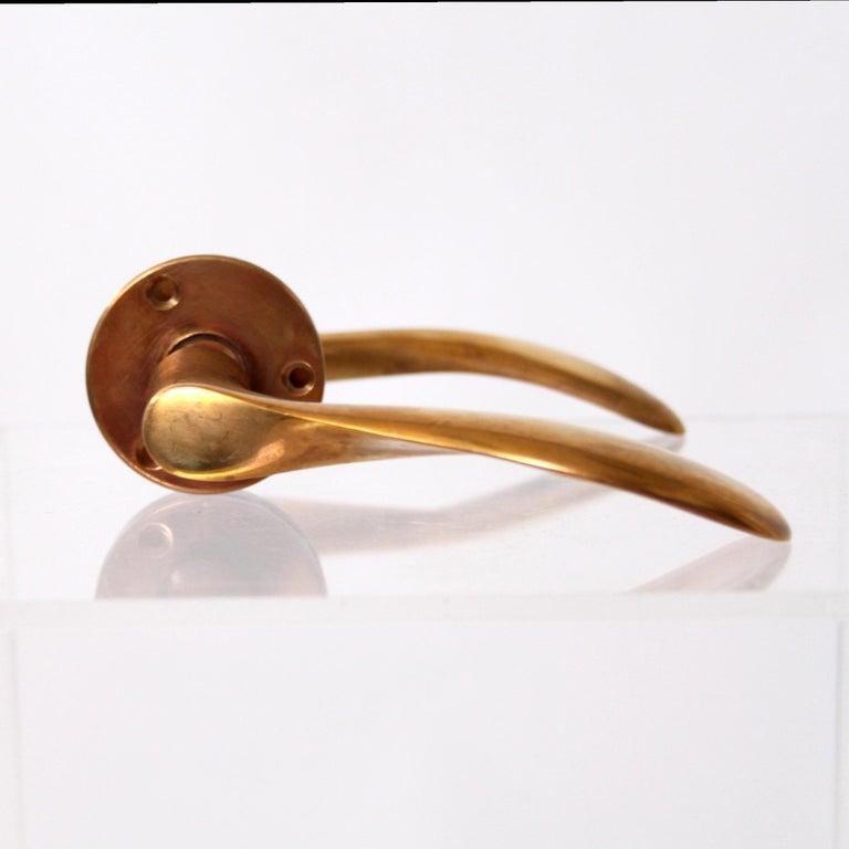 Polished Ten Sets of Arne Jacobsen Brass Door Handles