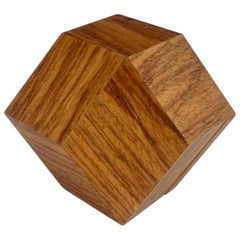 Ten Sided Polyhedral Wood Puzzle Box Sculpture