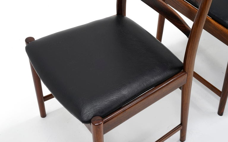 Ten Solid Rosewood Dining Chairs, Torbjørn Afdal, Two Arm and Eight Side Chairs For Sale 3