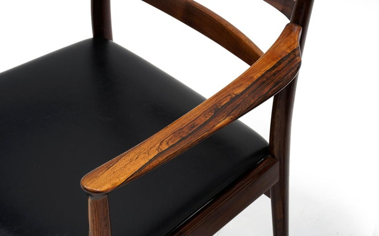 Ten Solid Rosewood Dining Chairs, Torbjørn Afdal, Two Arm and Eight Side Chairs For Sale 5