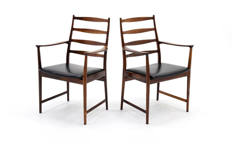 Scandinavian Modern Ten Solid Rosewood Dining Chairs, Torbjørn Afdal, Two Arm and Eight Side Chairs For Sale