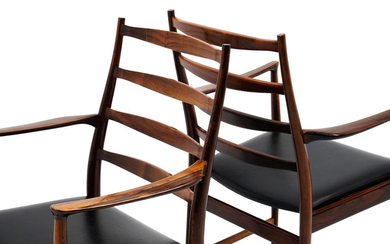 Mid-20th Century Ten Solid Rosewood Dining Chairs, Torbjørn Afdal, Two Arm and Eight Side Chairs For Sale