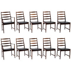 Ten Solid Rosewood Dining Chairs, Torbjørn Afdal, Two Arm and Eight Side Chairs