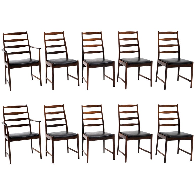 Ten Solid Rosewood Dining Chairs, Torbjørn Afdal, Two Arm and Eight Side Chairs For Sale