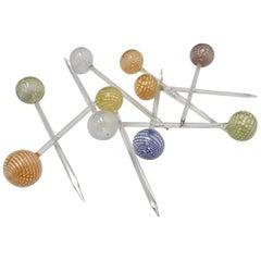 Ten Venini Murano Italian Lattice Pattern Glass Ball Cocktail Toothpicks