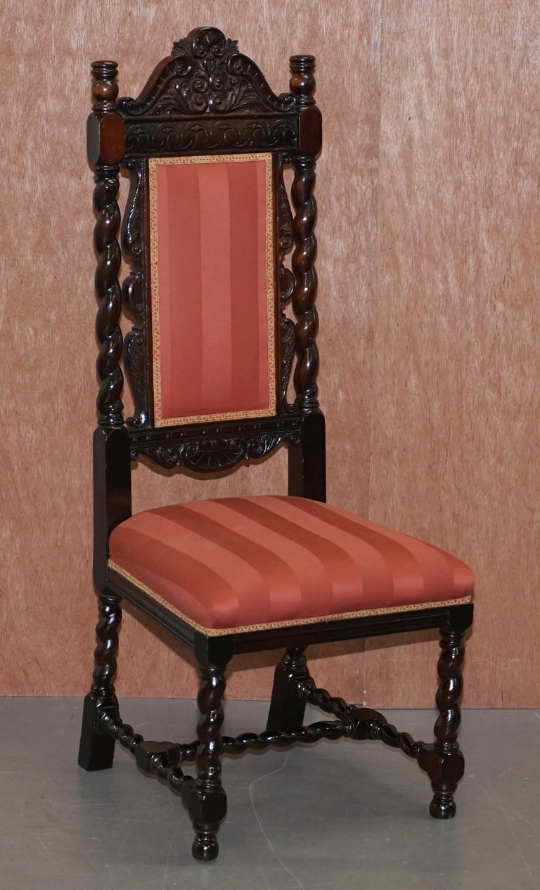 Ten Victorian 1880 Hand Carved Jacobean / Gothic Revival Oak Dining Chairs 10 For Sale 5