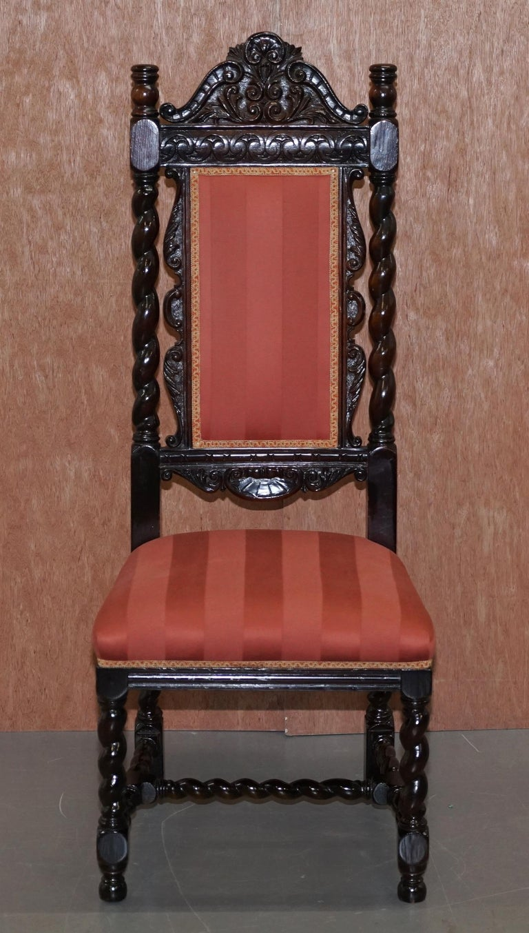 Ten Victorian 1880 Hand Carved Jacobean / Gothic Revival Oak Dining Chairs 10 For Sale 6