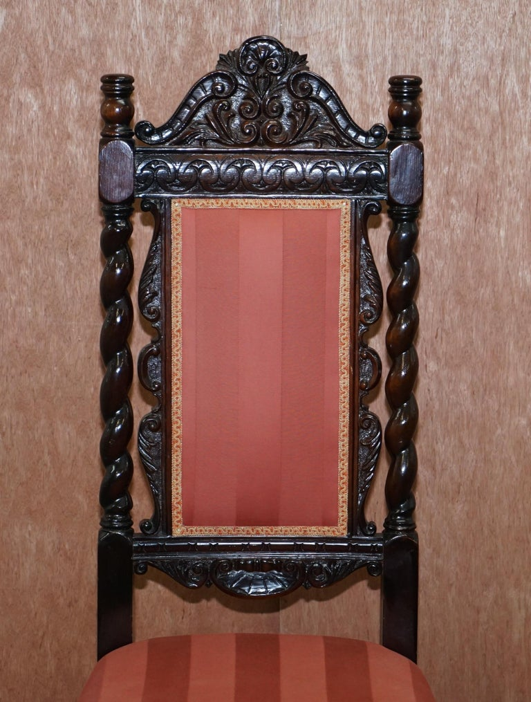 Ten Victorian 1880 Hand Carved Jacobean / Gothic Revival Oak Dining Chairs 10 For Sale 7