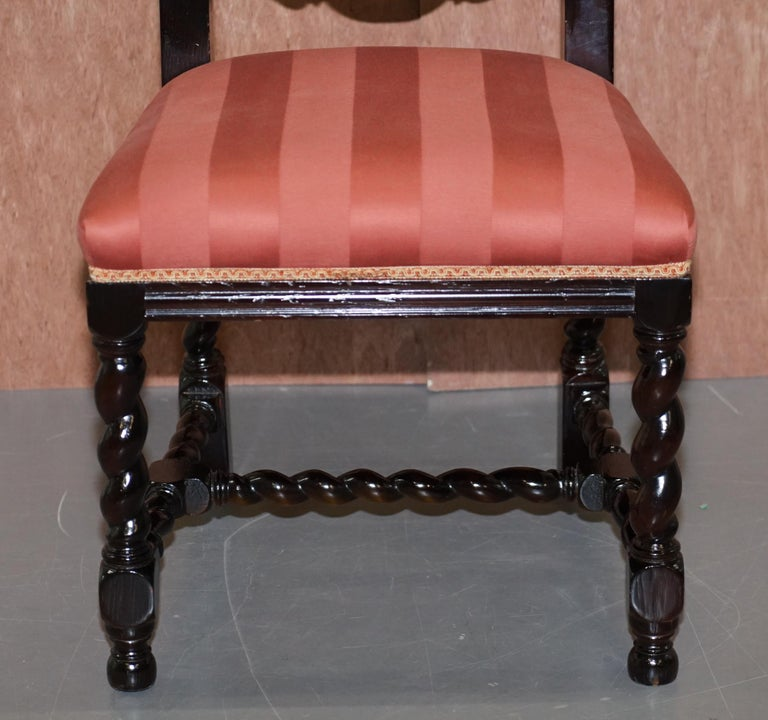 Ten Victorian 1880 Hand Carved Jacobean / Gothic Revival Oak Dining Chairs 10 For Sale 9