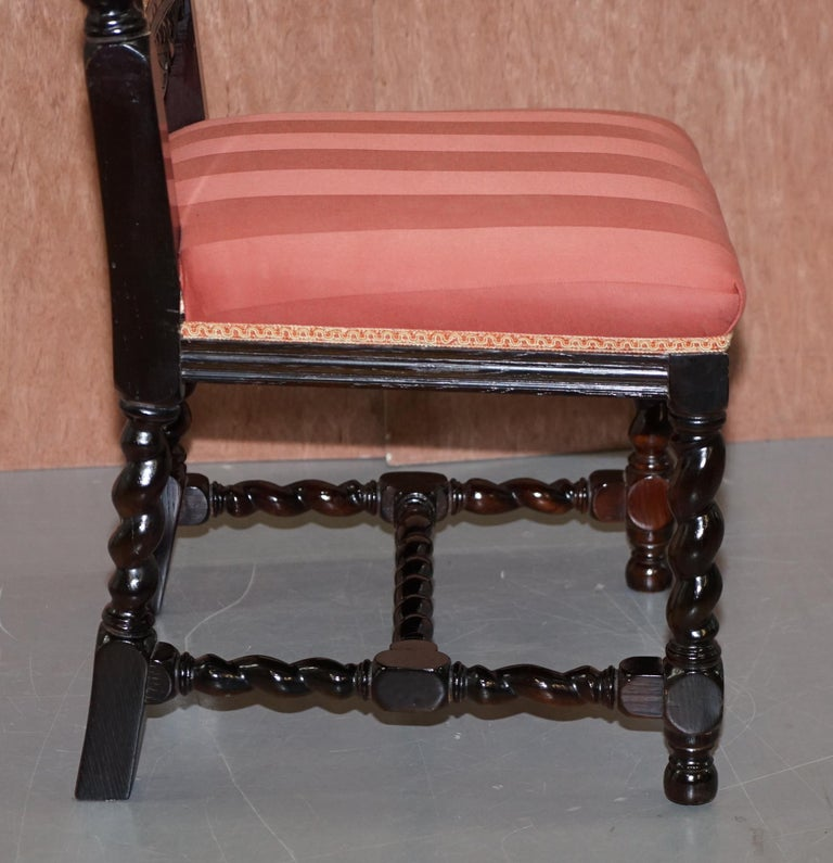 Ten Victorian 1880 Hand Carved Jacobean / Gothic Revival Oak Dining Chairs 10 For Sale 10