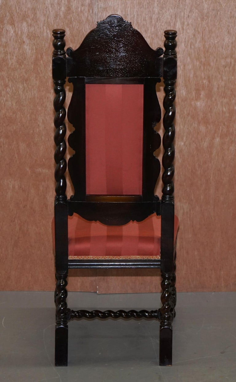 Ten Victorian 1880 Hand Carved Jacobean / Gothic Revival Oak Dining Chairs 10 For Sale 11