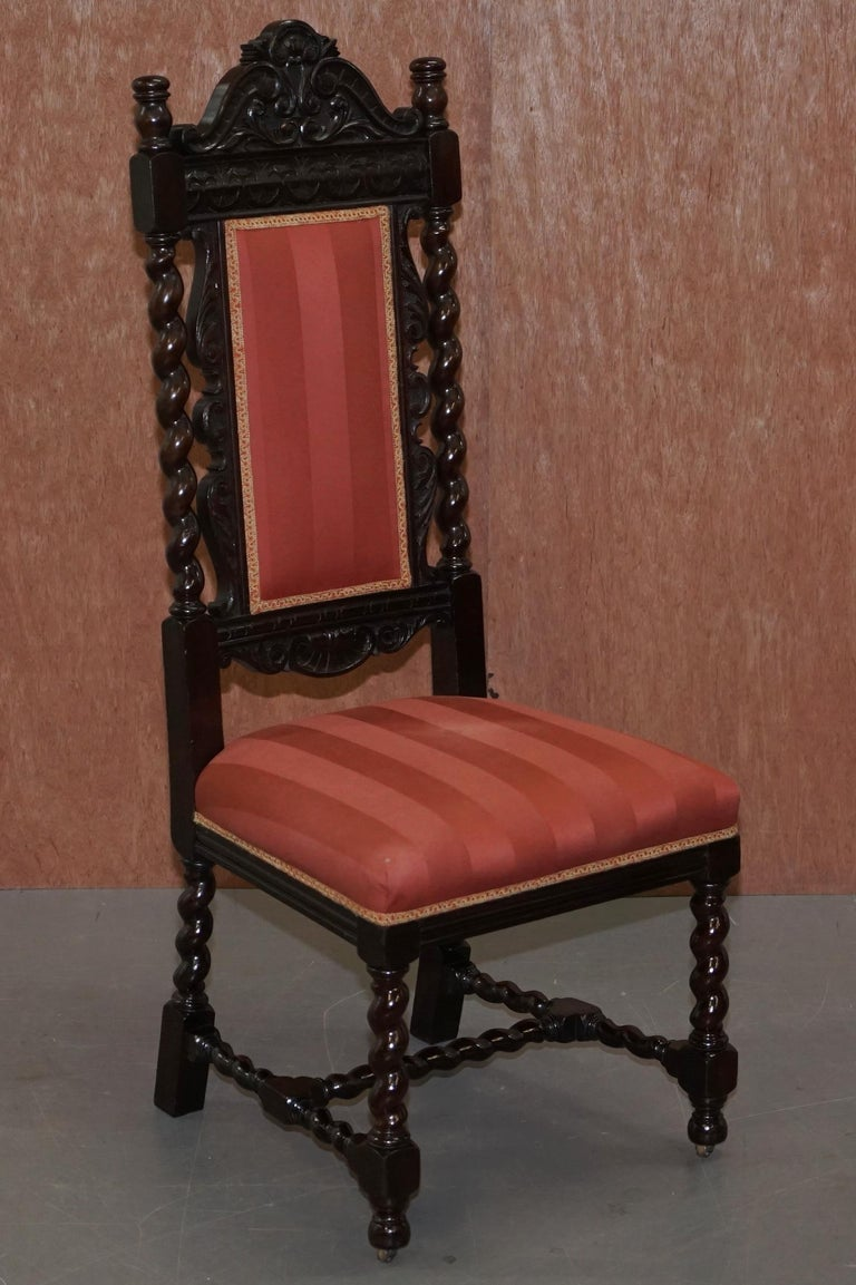 Ten Victorian 1880 Hand Carved Jacobean / Gothic Revival Oak Dining Chairs 10 For Sale 12