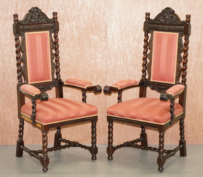 We are delighted to offer for sale this lovely suite of 10 original Victorian hand carved Gothic / Jacobean revival dining chairs  A very ornately carved suite of very grand dining chairs. The frames are barley twist all over, they each have the