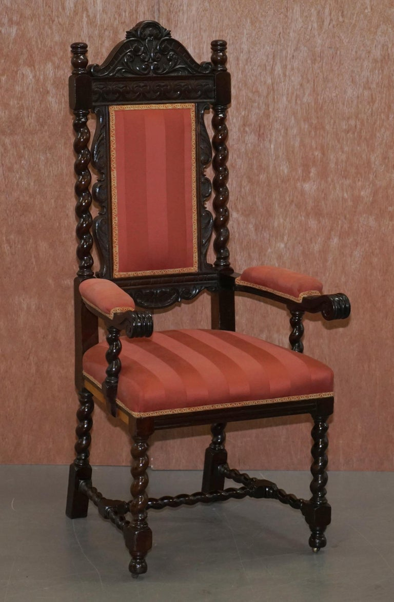 English Ten Victorian 1880 Hand Carved Jacobean / Gothic Revival Oak Dining Chairs 10 For Sale