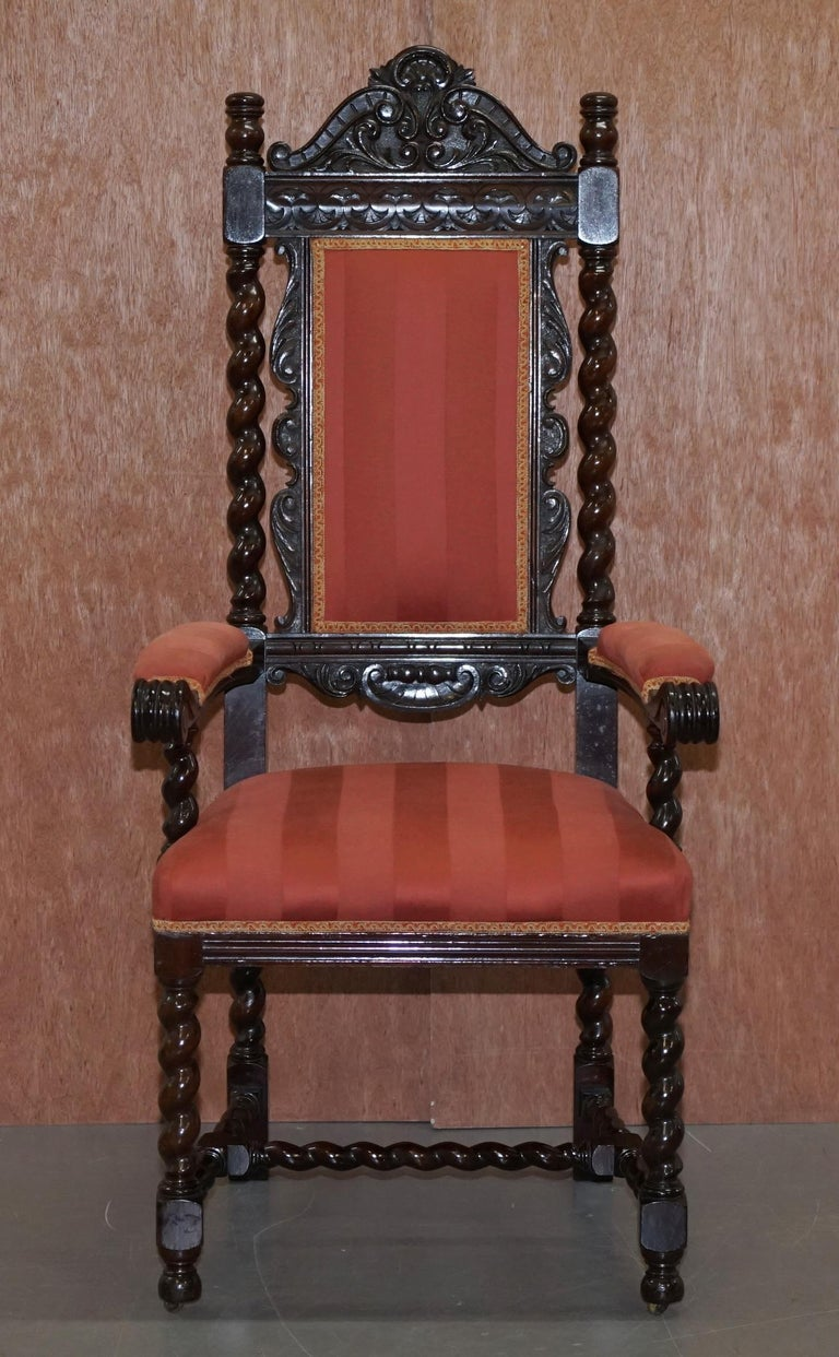 Hand-Crafted Ten Victorian 1880 Hand Carved Jacobean / Gothic Revival Oak Dining Chairs 10 For Sale