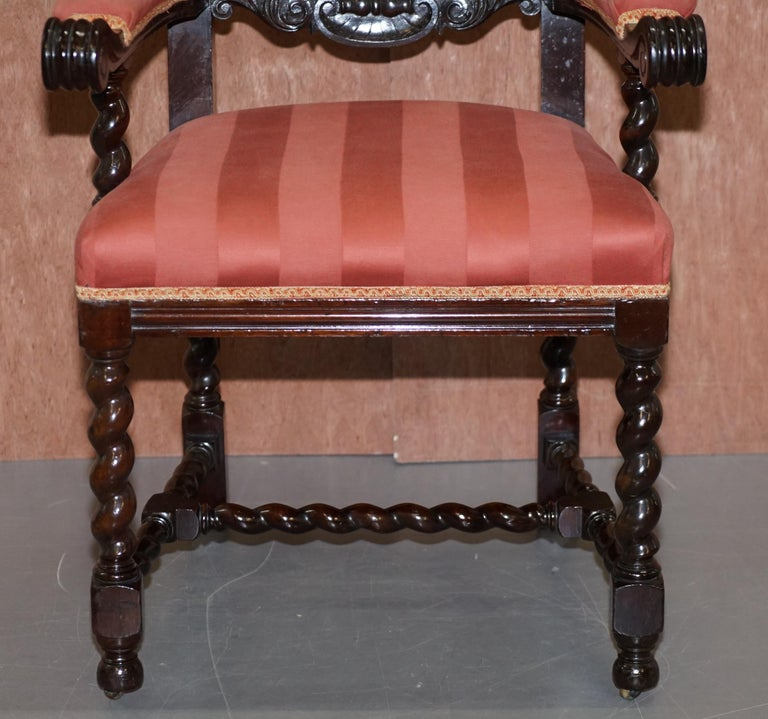 Upholstery Ten Victorian 1880 Hand Carved Jacobean / Gothic Revival Oak Dining Chairs 10 For Sale