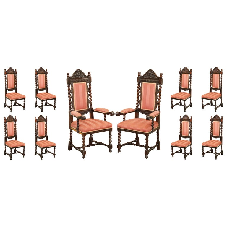 Ten Victorian 1880 Hand Carved Jacobean / Gothic Revival Oak Dining Chairs 10 For Sale