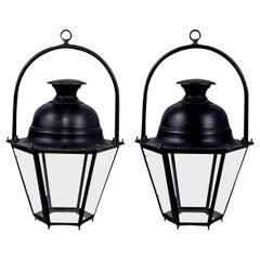 Ten Vintage Black-Painted Hexagonal Street Lanterns