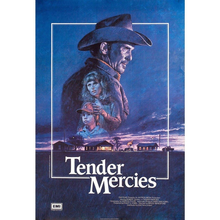 Original 1983 British one sheet poster by Brian Bysouth for the film 'Tender Mercies' directed by Bruce Beresford with Robert Duvall / Tess Harper / Betty Buckley / Wilford Brimley. Very good-fine condition, rolled. Please note, the size is stated