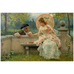 Tender Moment in a Garden 'In Love' Oil on Canvas, Federico Andreotti