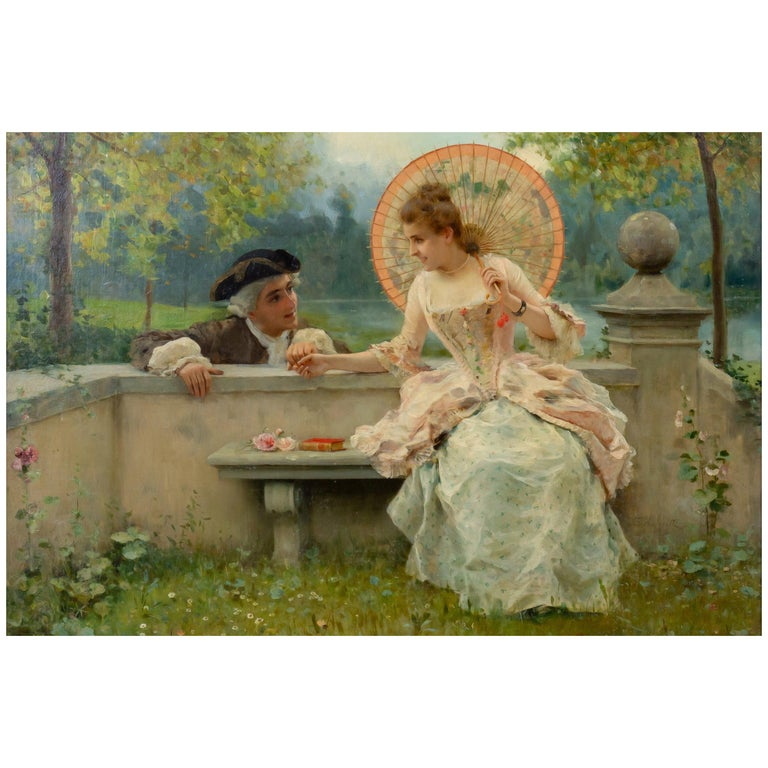 Tender Moment in a Garden 'In Love' Oil on Canvas, Federico Andreotti For Sale