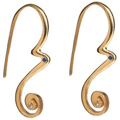 Tendril Drop Earrings with Diamonds and Blue Sapphires in 22 Karat Gold