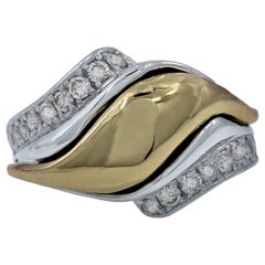 """""""Tendril"""" Ring in Platinum and Diamonds with 18 Karat Yellow Gold Center"""