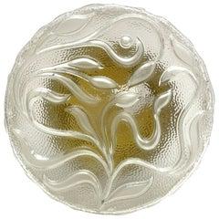Tendrils Pattern Glass Flush Mount Ceiling Light, 1960s, German