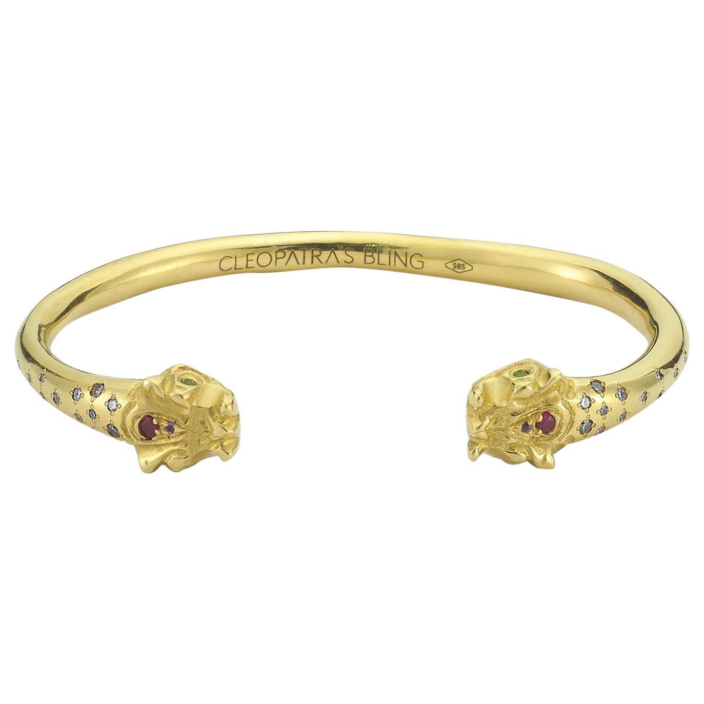 Tengri Bracelet with Diamond, Amethyst, Ruby, Emerald, 18 Karat Yellow Gold