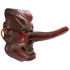 Tengu Mask, Japan Wood, Antiquity 1900, Red Lacquered Wood, Brass Eyes