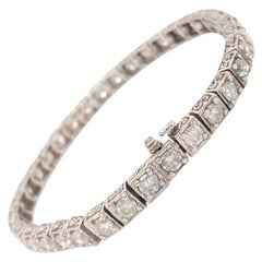 Tennis Bracelet 6.3 Carat in Diamonds 14 Karat White Gold Bracelet