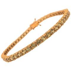 Tennis Bracelet Round Cut Green Stones 18k Yellow Gold Double Locking Clasp