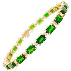 Tennis Bracelet Yellow Gold Emerald Cut Emerald Green Gemstonesm 12.50 Carats