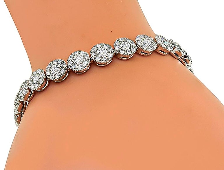 Round Cut Tennis Cluster Diamond White Gold Bracelet For Sale