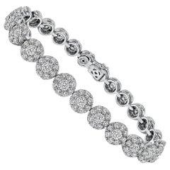 Tennis Cluster Diamond White Gold Bracelet