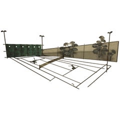 Tennis Court Mixed Metal Wall Sculpture by Curtis Jere