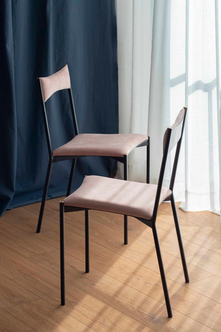 Argentine TENSA Contemporary Dining Chair in Steel and Velvet Upholstery by Ries For Sale