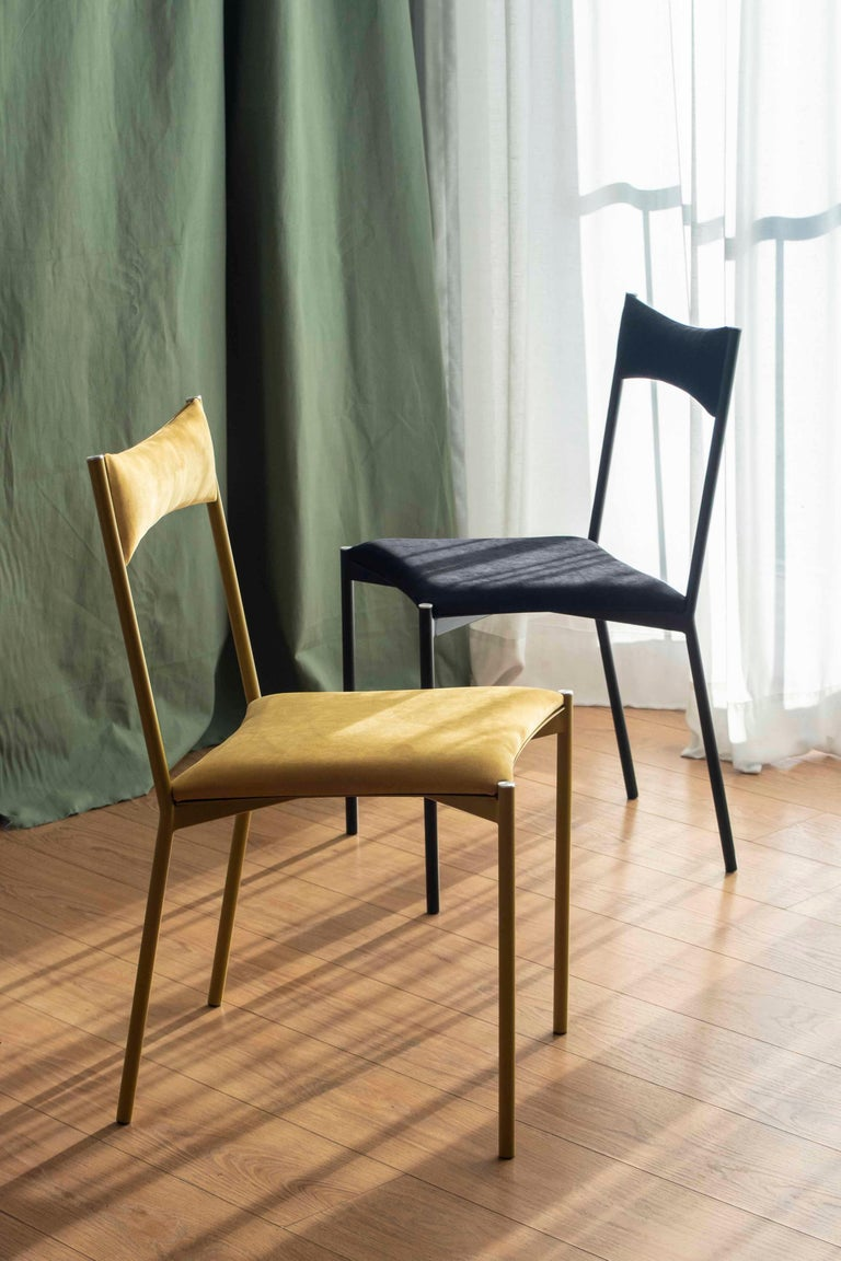 Powder-Coated TENSA Contemporary Dining Chair in Steel and Velvet Upholstery by Ries For Sale