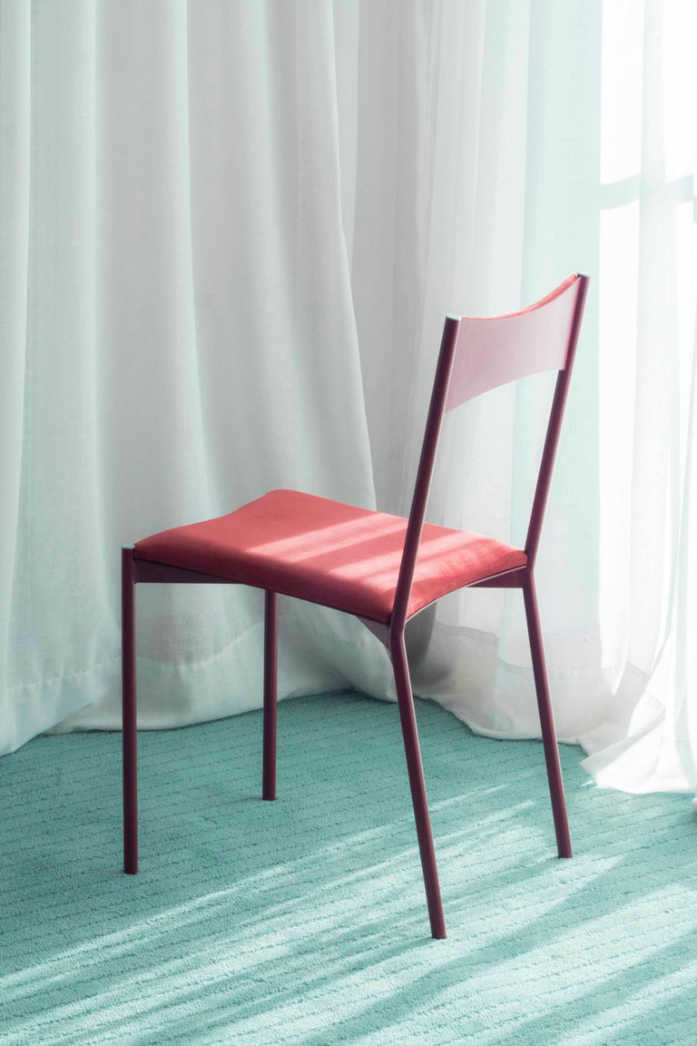 TENSA Contemporary Dining Chair in Steel and Velvet Upholstery by Ries In New Condition For Sale In Buenos Aires, CABA