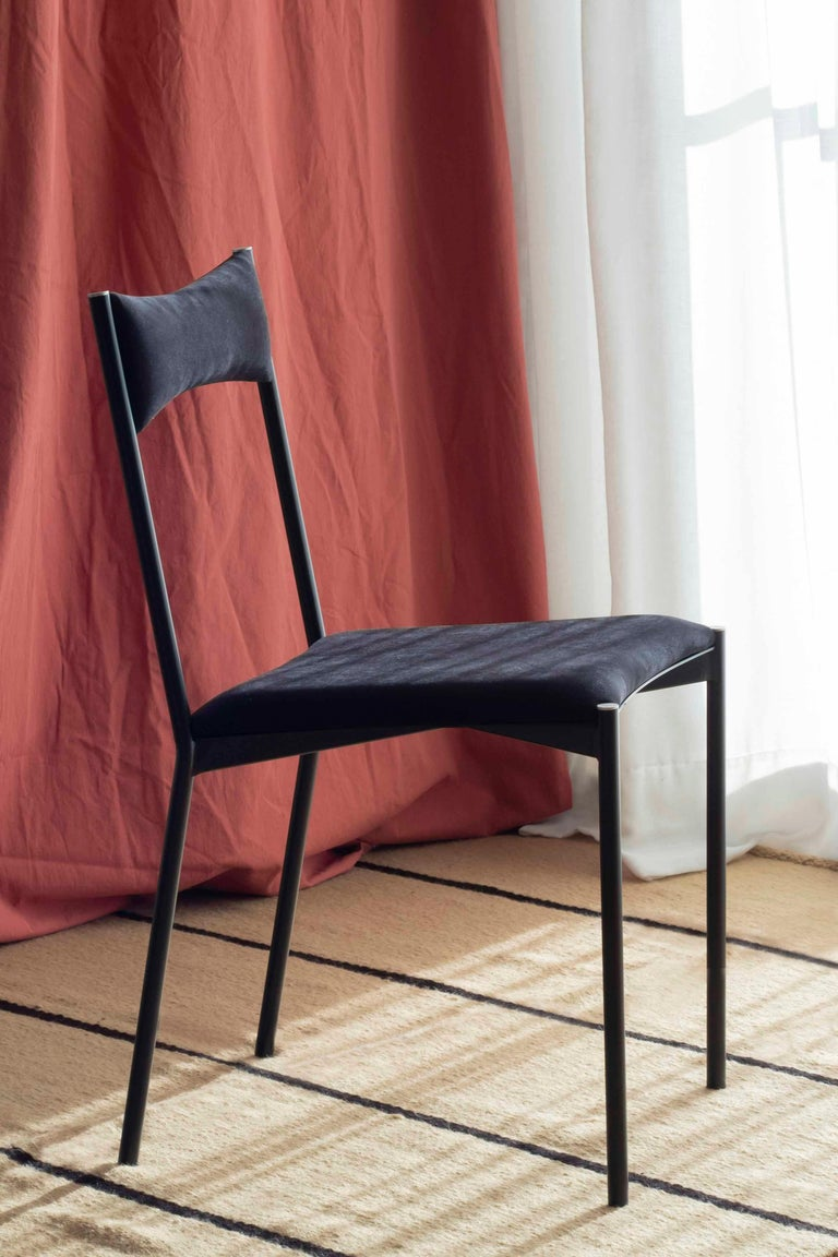 TENSA Contemporary Dining Chair in Steel and Velvet Upholstery by Ries For Sale 2