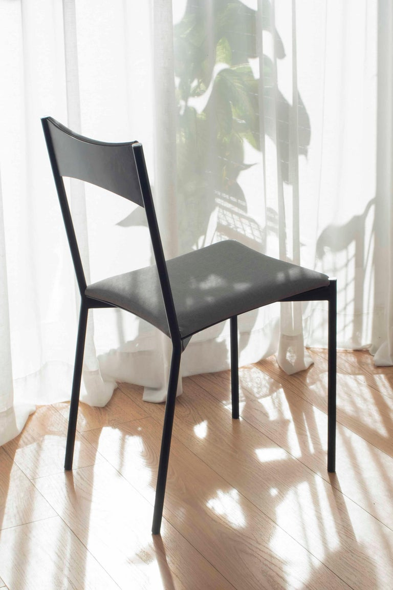 TENSA Contemporary Dining Chair in Steel and Velvet Upholstery by Ries For Sale 3