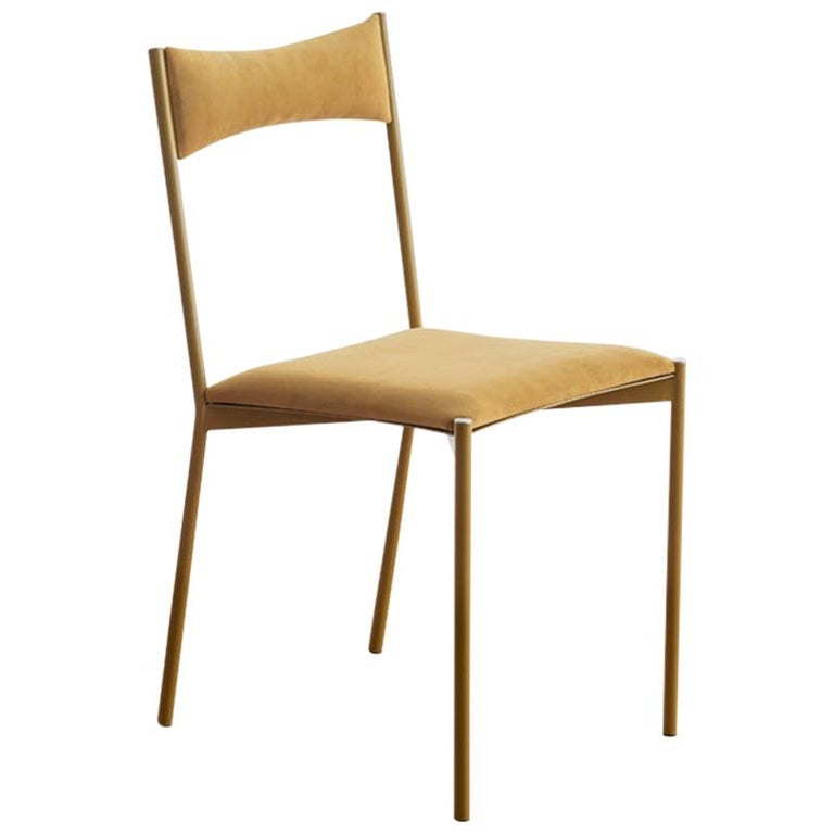 TENSA Contemporary Dining Chair in Steel and Velvet Upholstery by Ries For Sale
