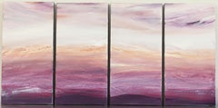 'Beach Plum Series', Abstract Coral, Pink, White, Purple Acrylic Paintings