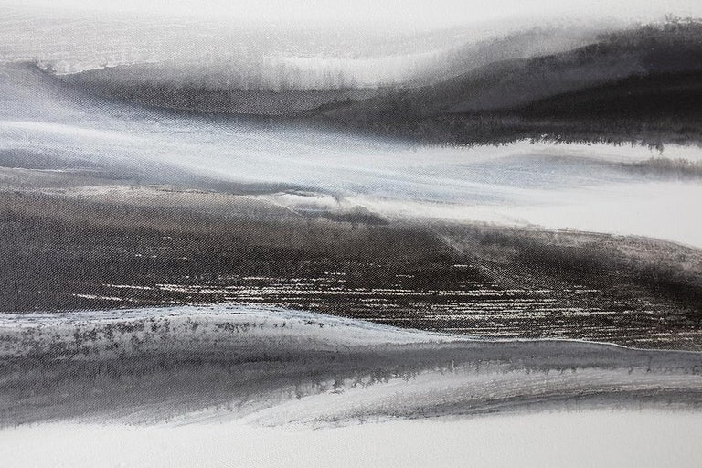 'Black Tie', Abstract Black,White & Silver Metallic Contemporary Painting  For Sale 1