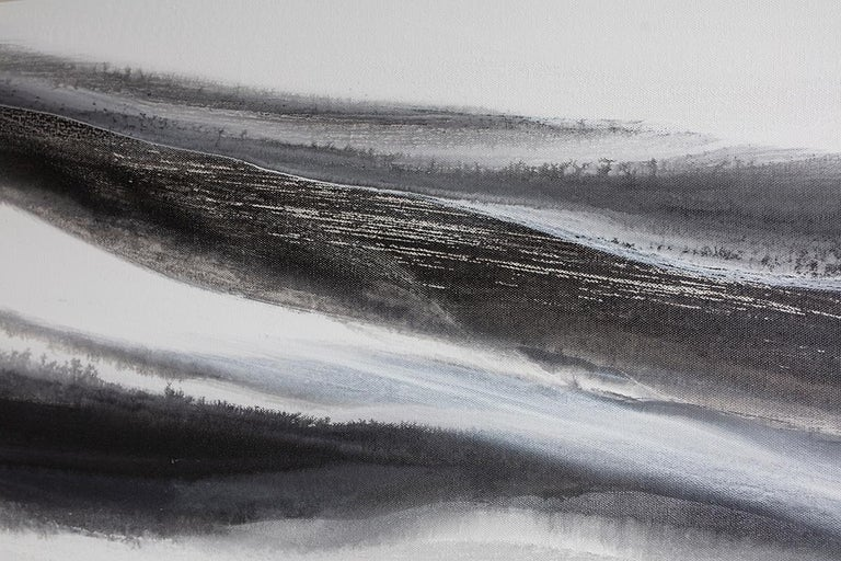 'Black Tie', Abstract Black,White & Silver Metallic Contemporary Painting  For Sale 2
