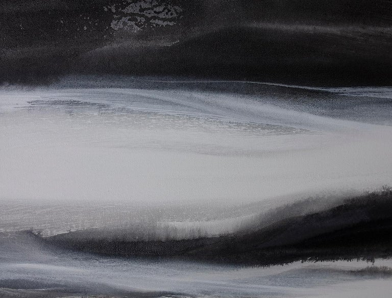 'Black Tie', Abstract Black,White & Silver Metallic Contemporary Painting  For Sale 3