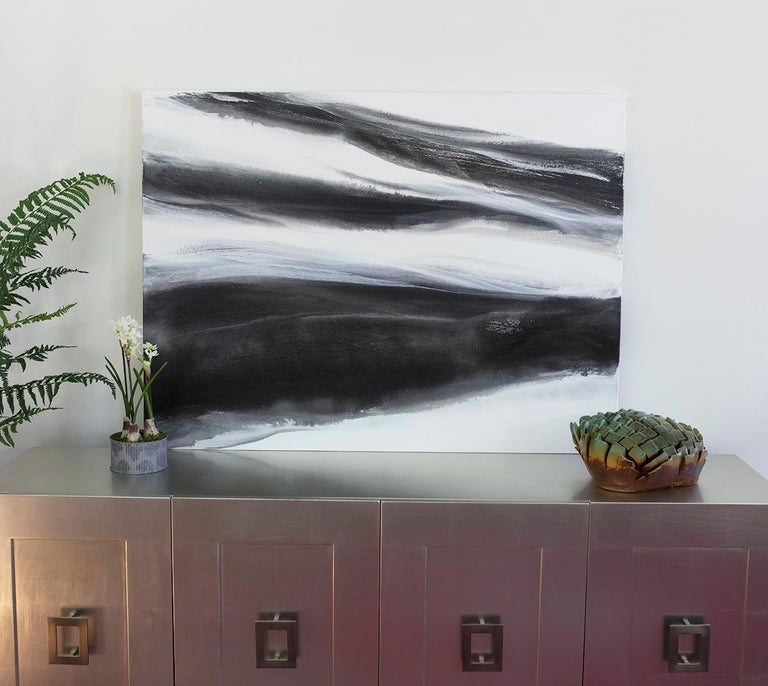 'Black Tie', Abstract Black,White & Silver Metallic Contemporary Painting  For Sale 4