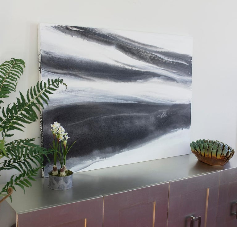 'Black Tie', Abstract Black,White & Silver Metallic Contemporary Painting  For Sale 5